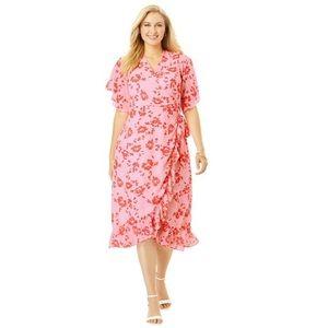 Jessica London Pink Floral Romantic Wrap Dress